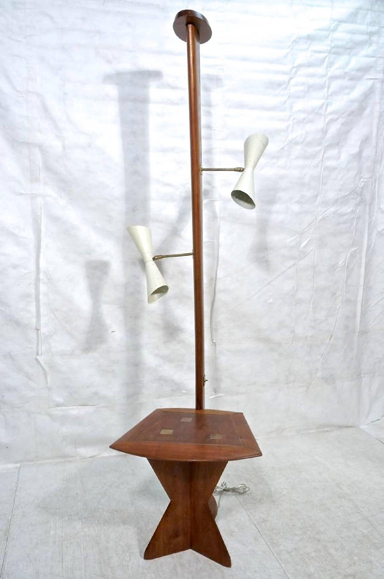 Custom-made floor lamp with integrated side table from the studios of Samson Berman Associates, circa 1956.