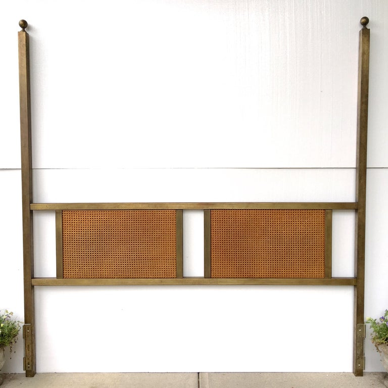 King-size 1960s two poster headboard in patinated bronze tone by John Widdicomb for John Stuart. 