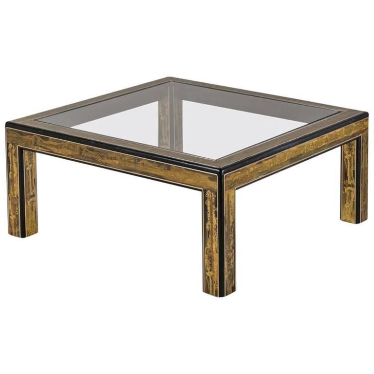 Bernhard Rohne for Mastercraft Acid Etched Brass and Ebonized Cocktail Table For Sale
