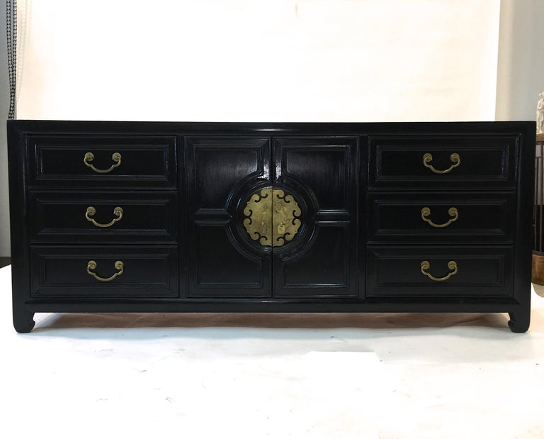 Mid-Century Modern Hollywood Regency Asian Modern Motif Long Low Chest by Century Furniture For Sale