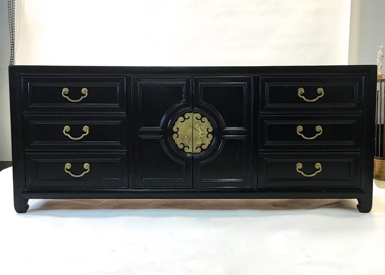 Mid-20th Century Hollywood Regency Asian Modern Motif Long Low Chest by Century Furniture For Sale