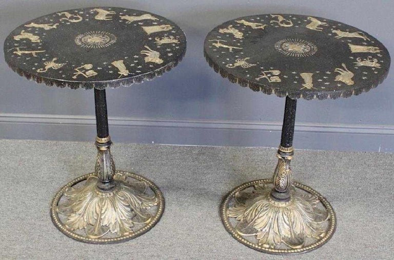 Pair of Art Deco Zodiac Patinated Metal Tables For Sale 14