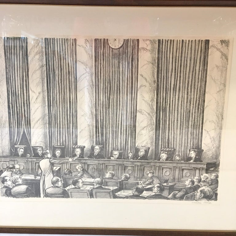Mid-Century Modern William Sharp Lithograph of United States Supreme Court For Sale