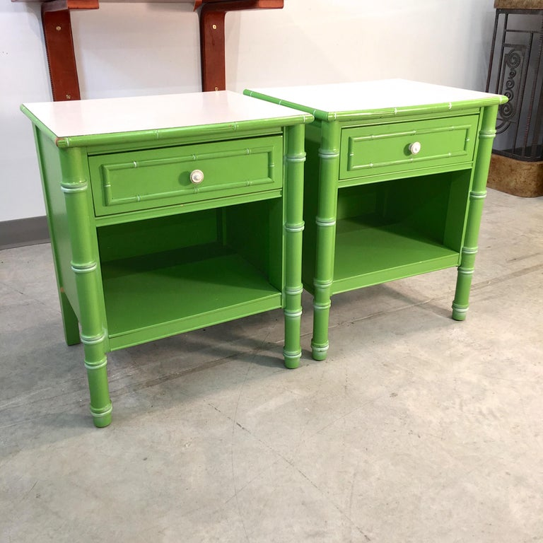 American Pair of Hollywood Regency Green Bamboo Nightstands For Sale