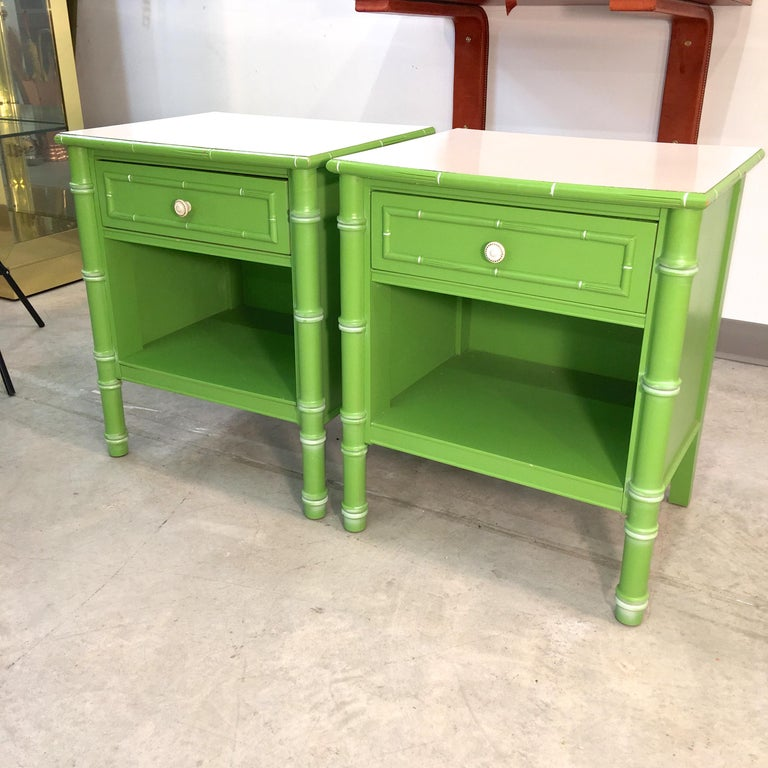 Pair of Hollywood Regency Green Bamboo Nightstands In Good Condition For Sale In Hingham, MA