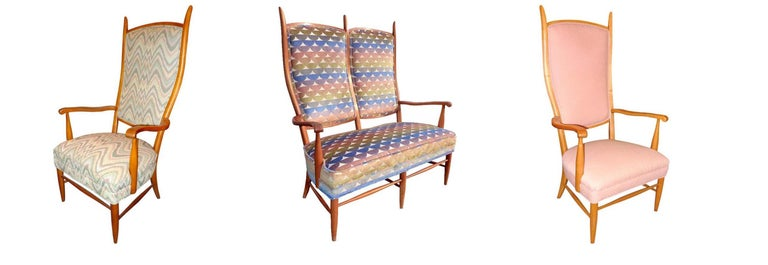 Three piece seating suite consisting of one high-back lithe two-seater vintage Italian style settee with elongated peak-formed rear supports and sinuous forward curling arms, and two armchairs.    Made by Maxwell Royal of Hickory, NC in the