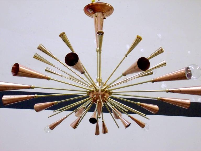 Plated 24-Karat Gold Monumental Sputnik Chandelier For Sale