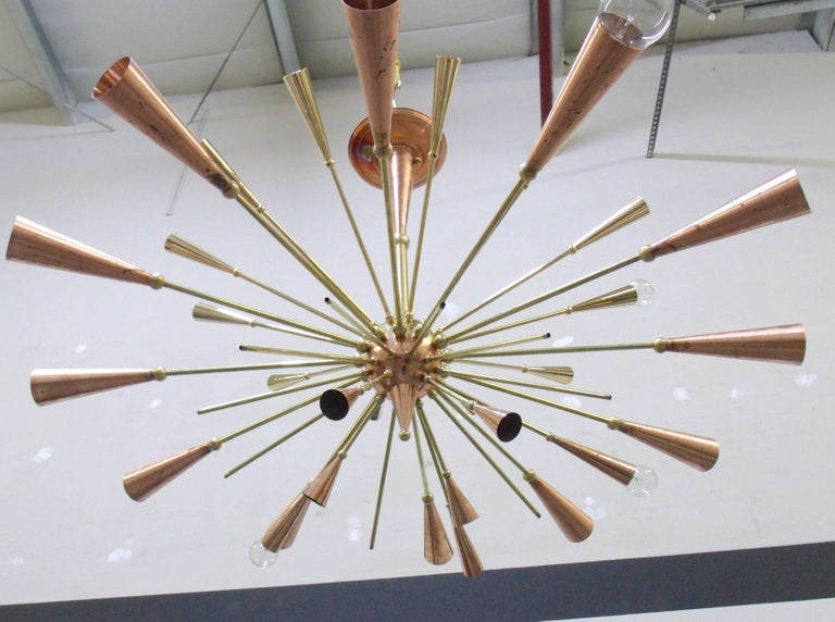 Contemporary 24-Karat Gold Monumental Sputnik Chandelier For Sale