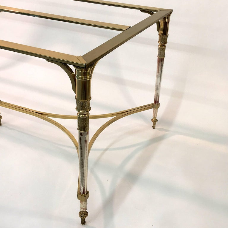 Hollywood Regency Maison Jansen Style Brass and Polished Steel Dining Table For Sale
