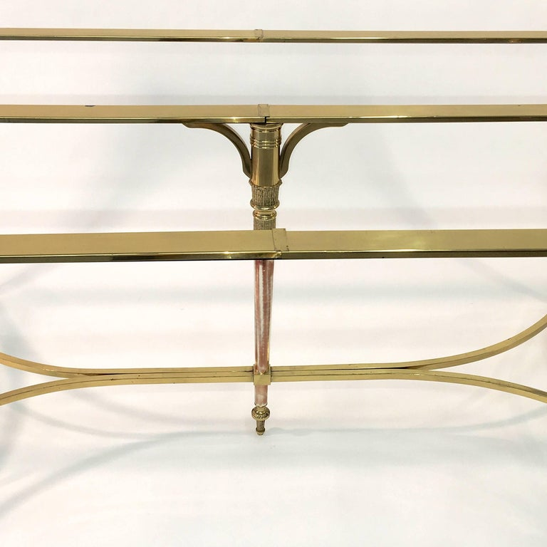 Italian Maison Jansen Style Brass and Polished Steel Dining Table For Sale