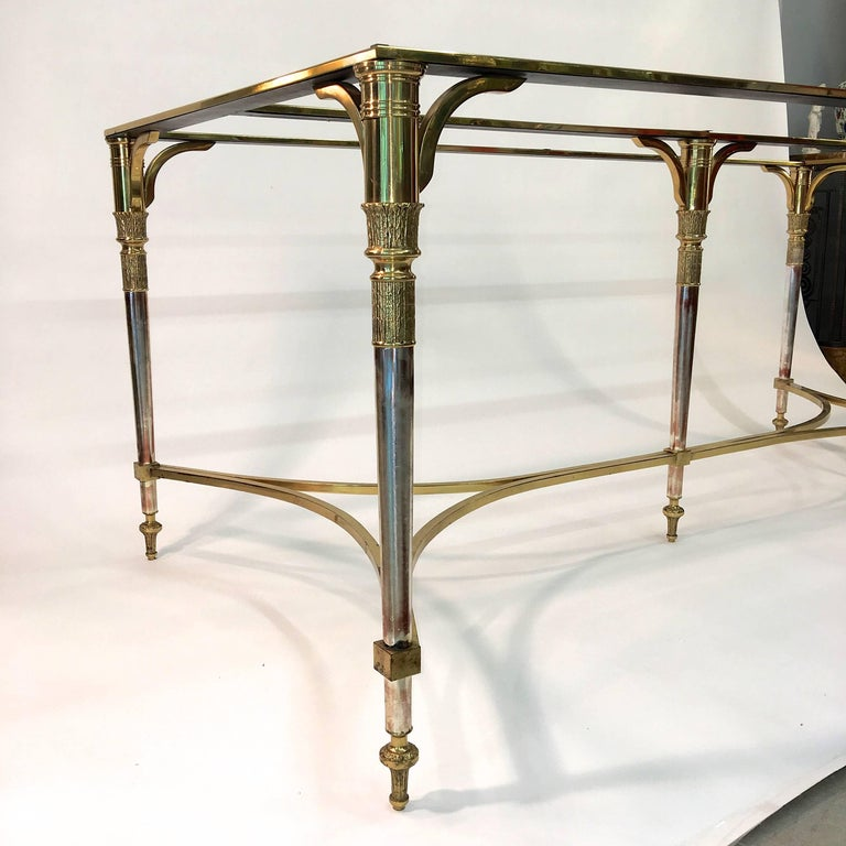 Mid-20th Century Maison Jansen Style Brass and Polished Steel Dining Table For Sale