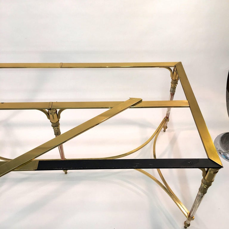 Maison Jansen Style Brass and Polished Steel Dining Table For Sale 5