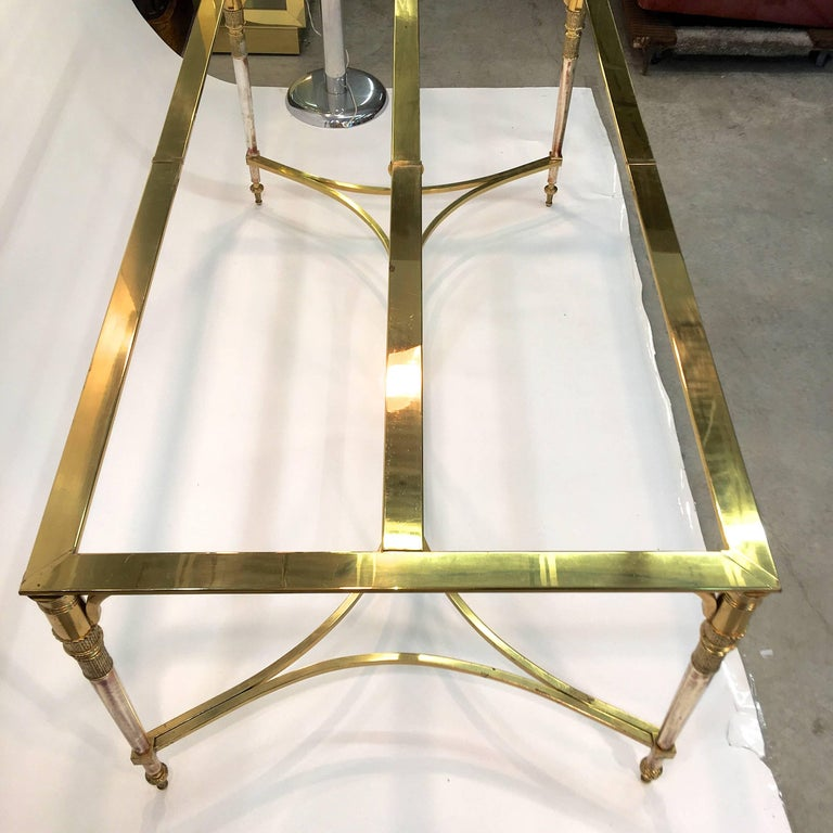 Maison Jansen Style Brass and Polished Steel Dining Table For Sale 8