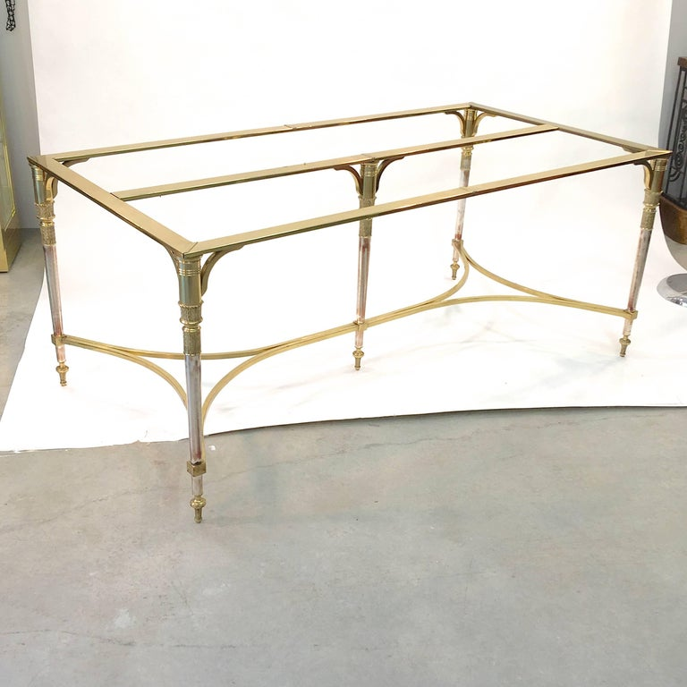 Maison Jansen Style Brass and Polished Steel Dining Table For Sale 9