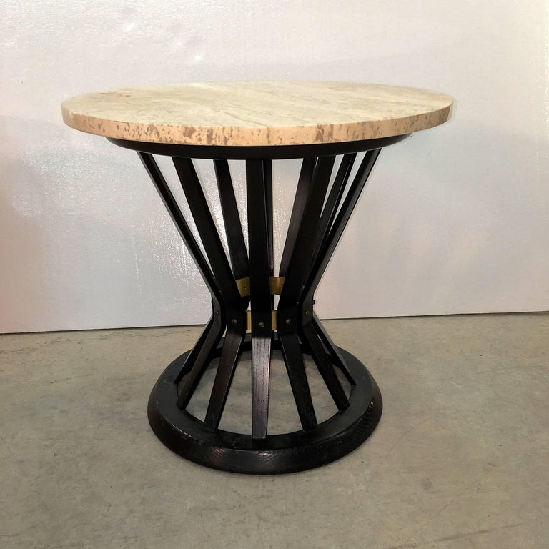 Mid-Century Modern Edward Wormley for Dunbar Wheat Sheaf Occasional Table with Travertine Top For Sale