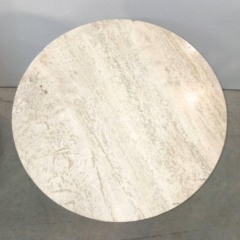 American Edward Wormley for Dunbar Wheat Sheaf Occasional Table with Travertine Top For Sale