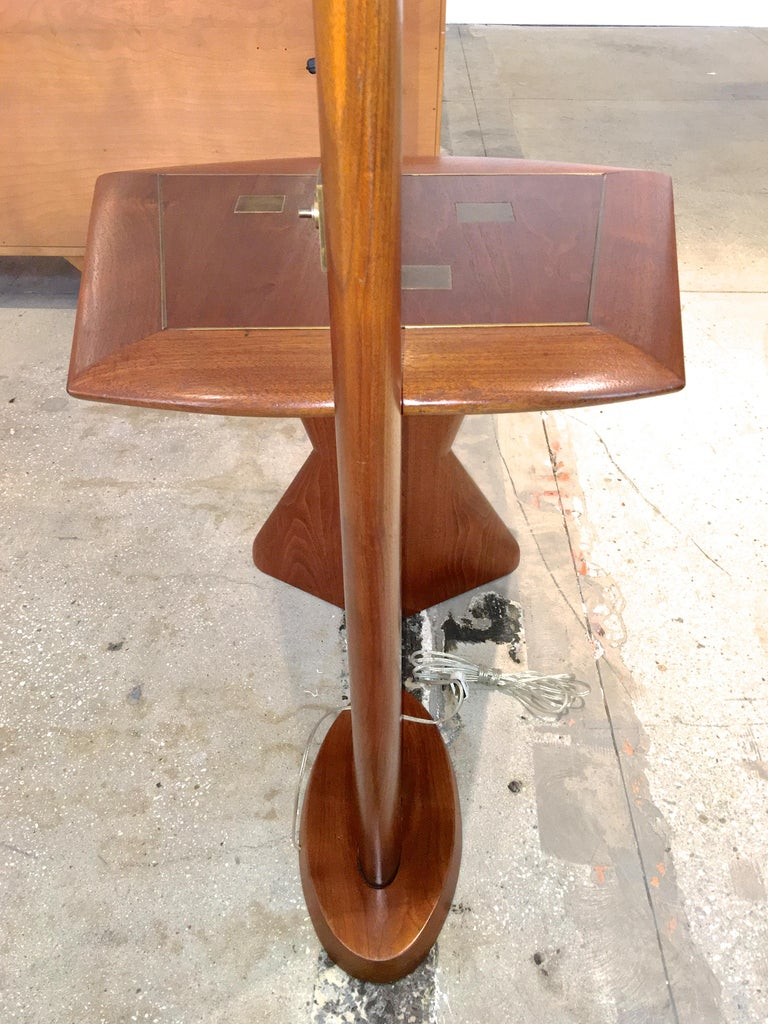 Aluminum Samson Berman Studio Floor Lamp with Integrated Table For Sale