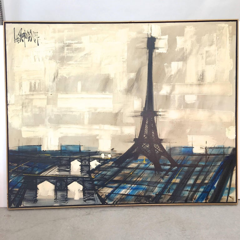 Classic Mid-Century Modernist large-scale textured oil on canvas painting of a Paris skyline featuring the Eiffel Tower signed upper left Lee Reynolds. 