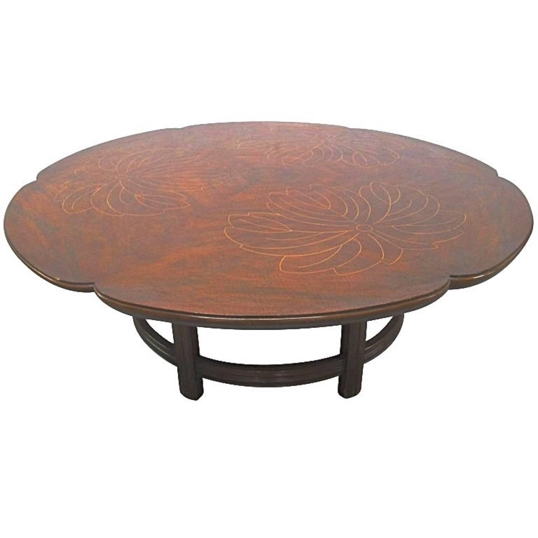 John Widdicomb Scalloped Edge Round Cocktail Table with Inlay For Sale