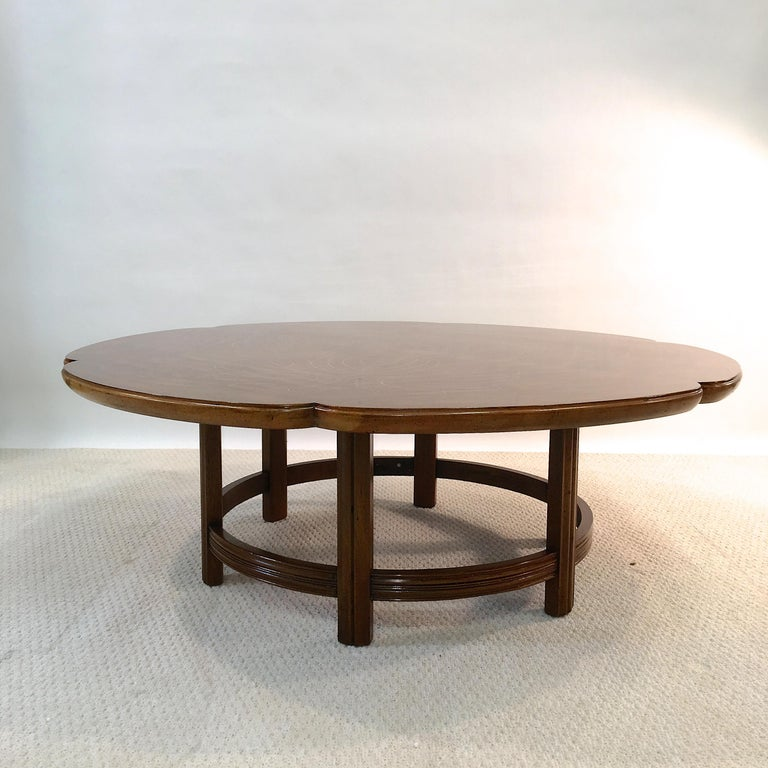Mid-20th Century John Widdicomb Scalloped Edge Round Cocktail Table with Inlay For Sale