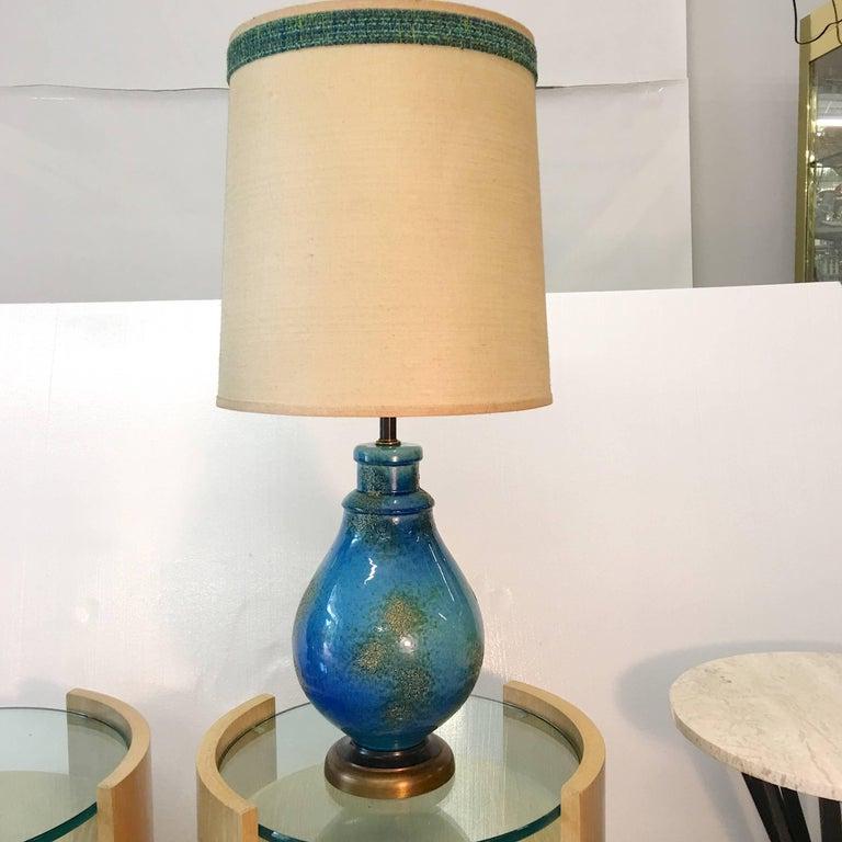 Mid-Century Modern Blue Ceramic Lamp For Sale