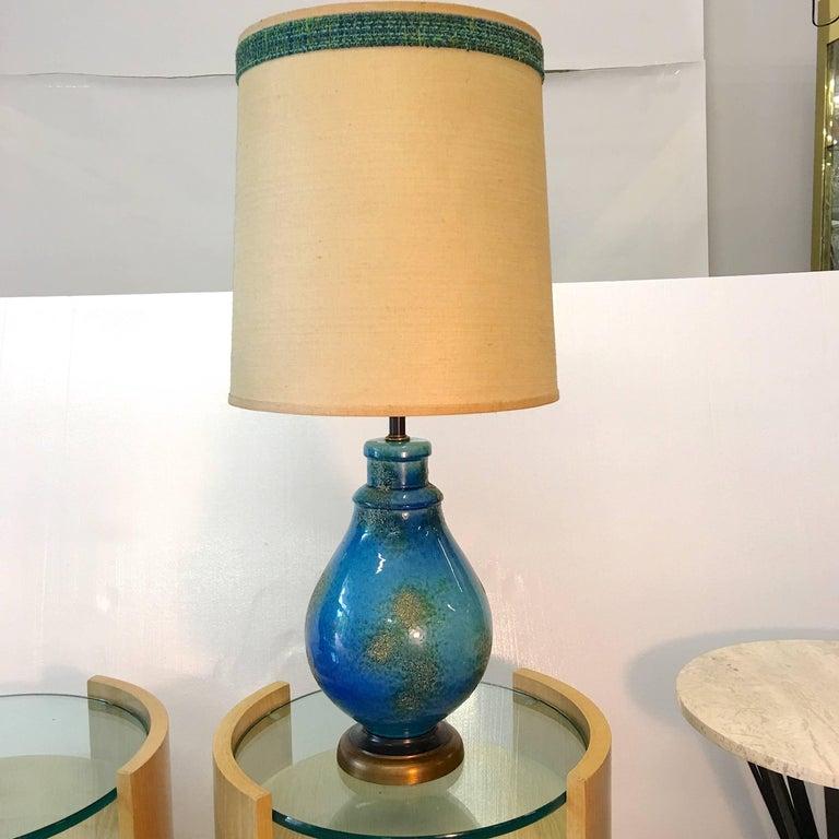 American Blue Ceramic Lamp For Sale