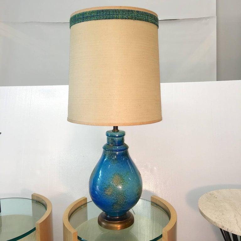 Glazed Blue Ceramic Lamp For Sale