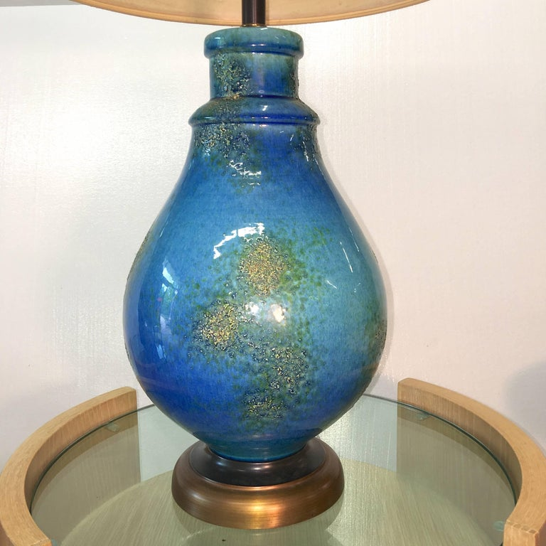 Blue Ceramic Lamp In Excellent Condition For Sale In Hingham, MA