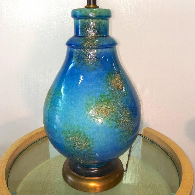 Mid-20th Century Blue Ceramic Lamp For Sale