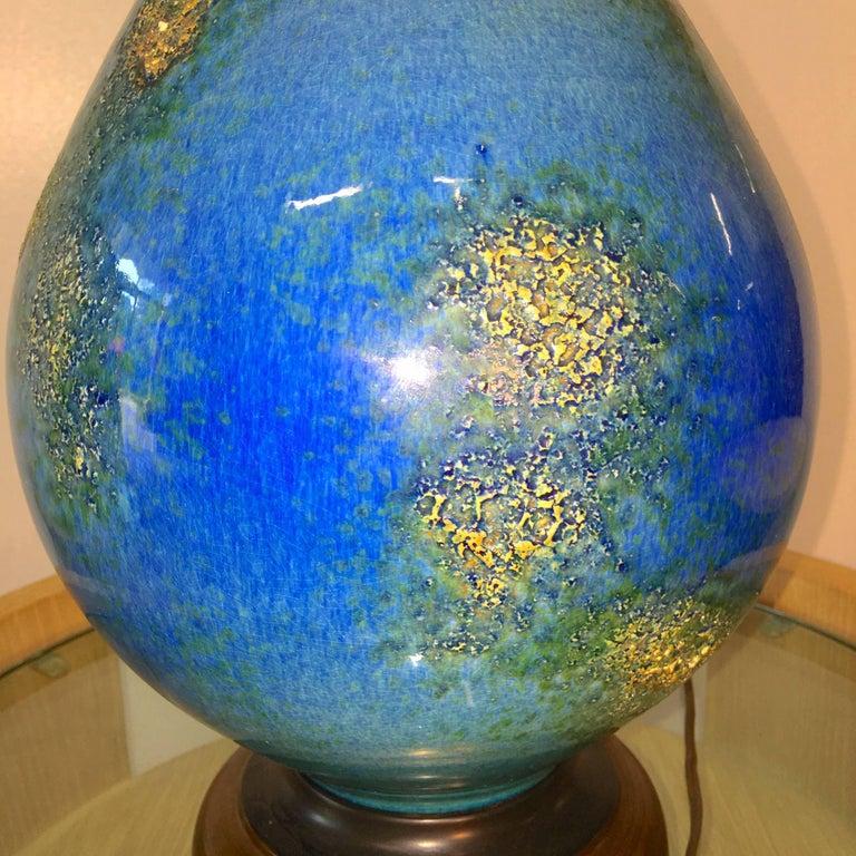 Blue Ceramic Lamp For Sale 1