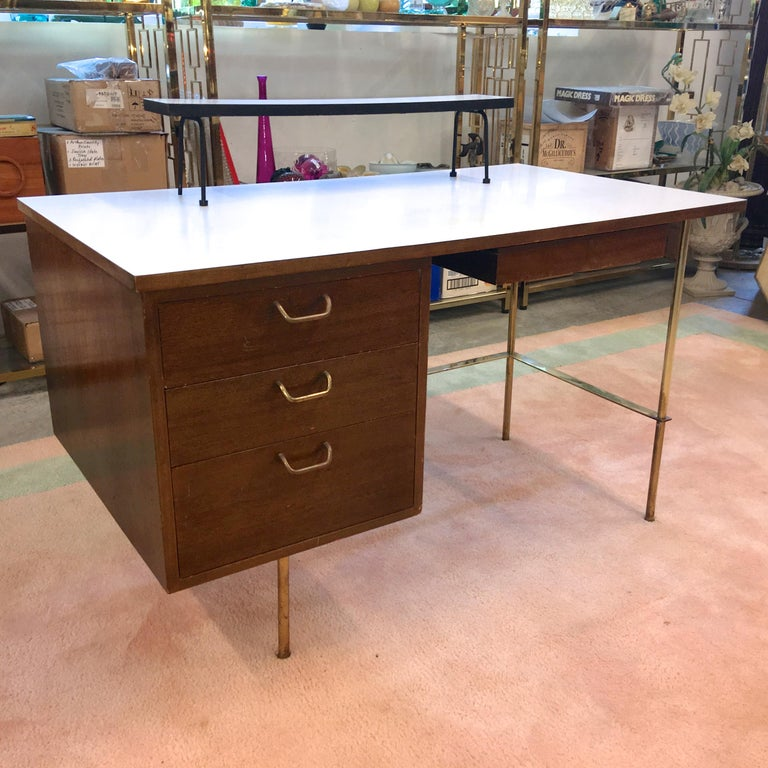 Mid-Century Modern Rare Harvey Probber Brass and Mahogany Desk For Sale