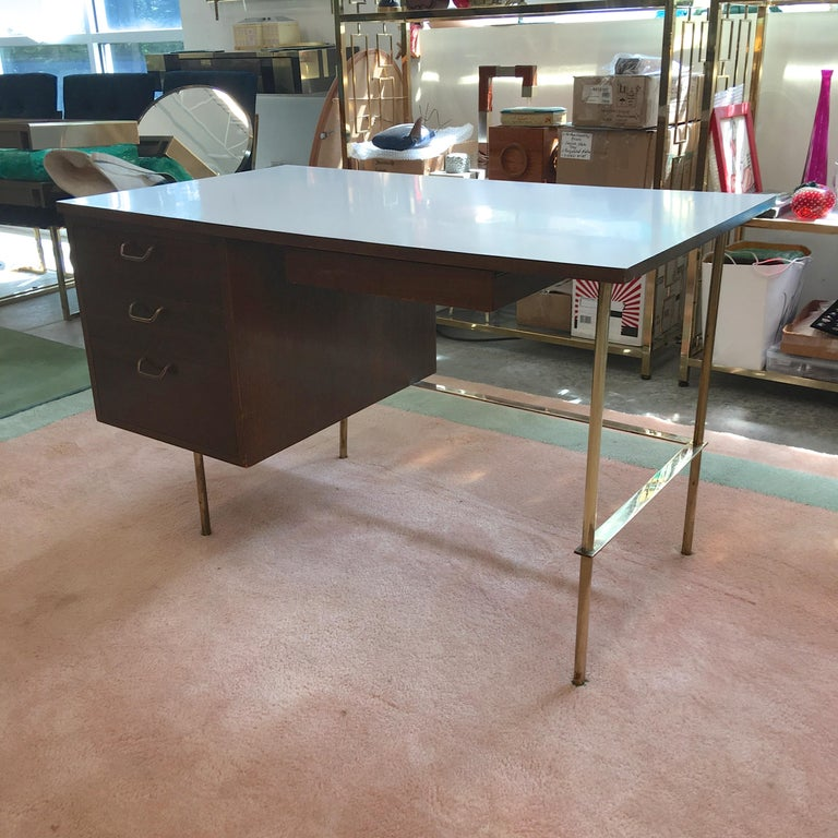 American Rare Harvey Probber Brass and Mahogany Desk For Sale