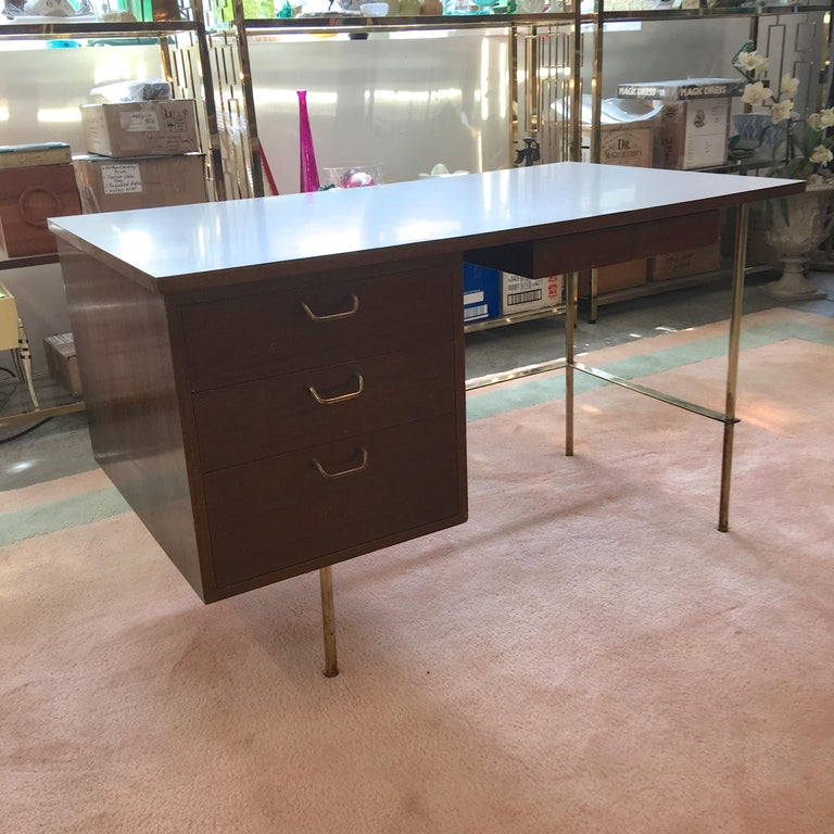 Rare Harvey Probber Brass and Mahogany Desk In Excellent Condition For Sale In Hingham, MA