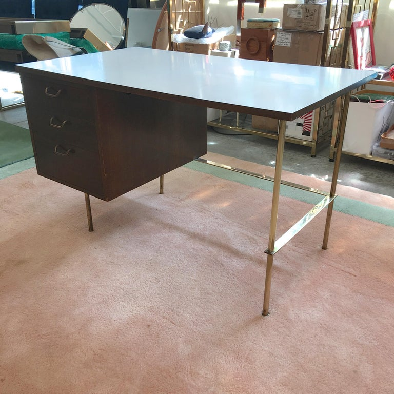 Mid-20th Century Rare Harvey Probber Brass and Mahogany Desk For Sale
