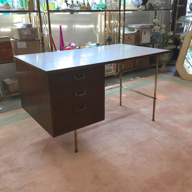 Rare Harvey Probber Brass and Mahogany Desk For Sale 2