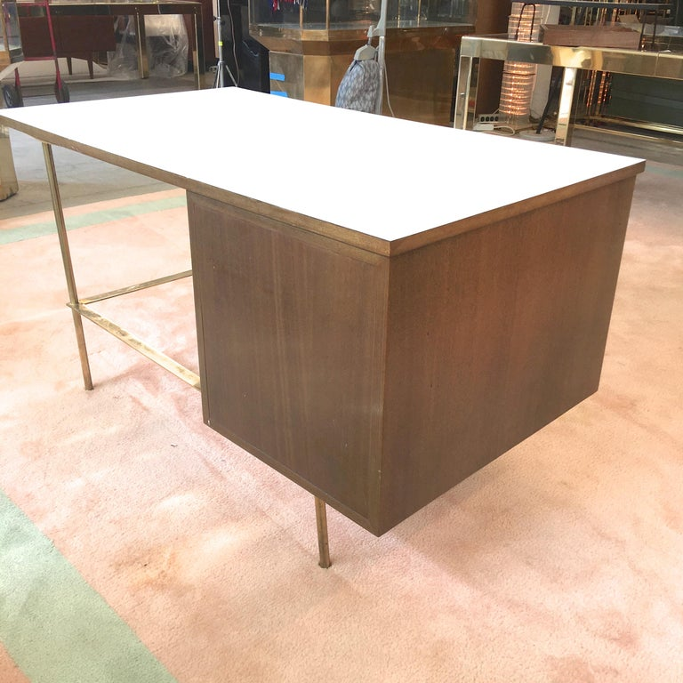 Rare Harvey Probber Brass and Mahogany Desk For Sale 3