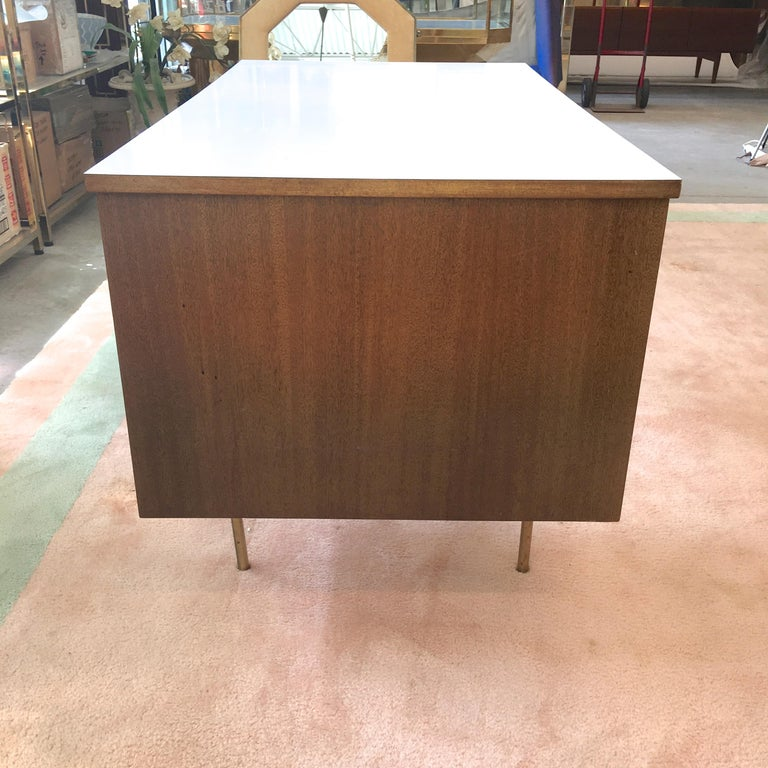 Rare Harvey Probber Brass and Mahogany Desk For Sale 4