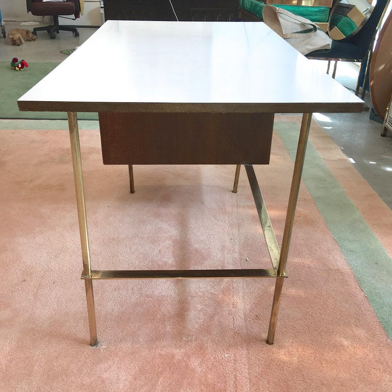 Rare Harvey Probber Brass and Mahogany Desk For Sale 5