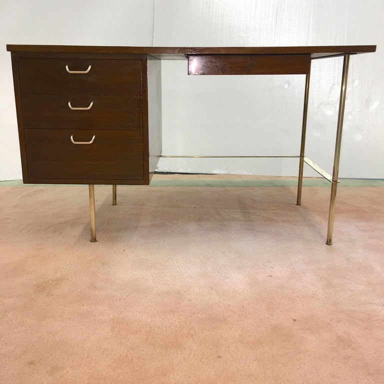 Rare Harvey Probber Brass and Mahogany Desk For Sale 7