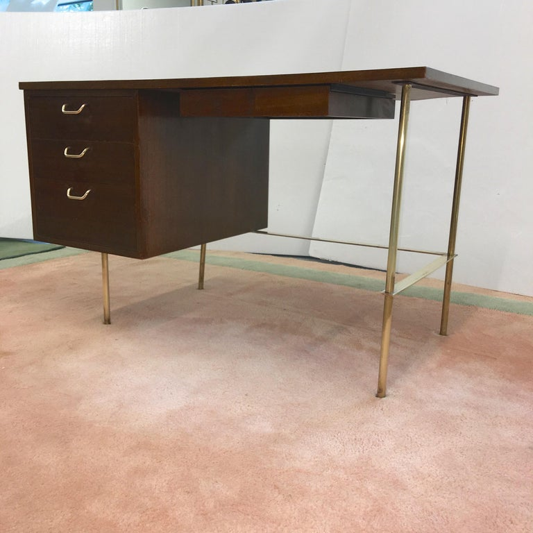 Rare Harvey Probber Brass and Mahogany Desk For Sale 8