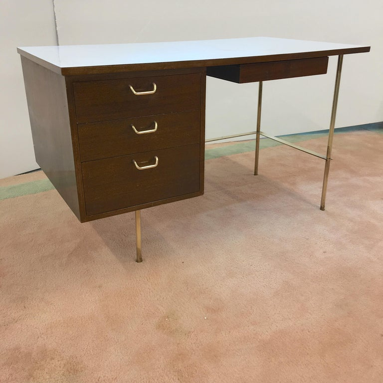 Rare Harvey Probber Brass and Mahogany Desk For Sale 9