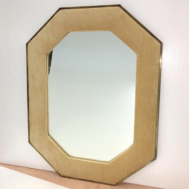 Mid-Century Modern Brass Framed Upholstered Octagonal Mirror by John Widdicomb For Sale