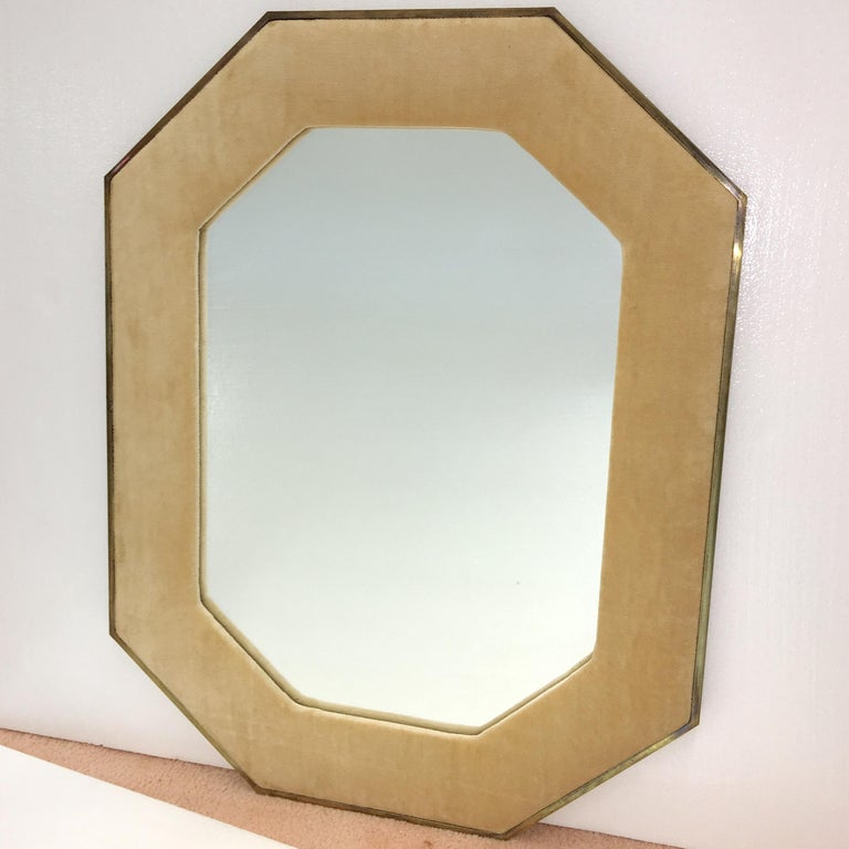 American Brass Framed Upholstered Octagonal Mirror by John Widdicomb For Sale