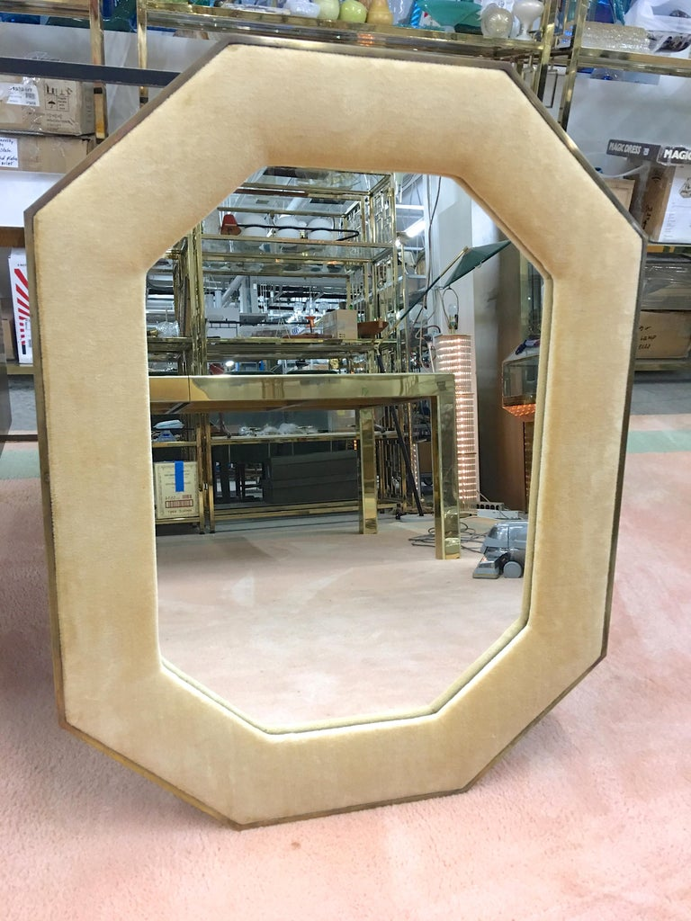 Mid-20th Century Brass Framed Upholstered Octagonal Mirror by John Widdicomb For Sale