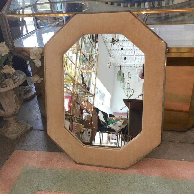 Brass Framed Upholstered Octagonal Mirror by John Widdicomb For Sale 2