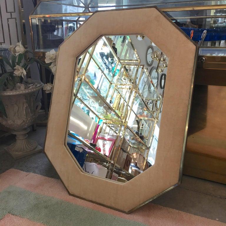 Brass Framed Upholstered Octagonal Mirror by John Widdicomb For Sale 3