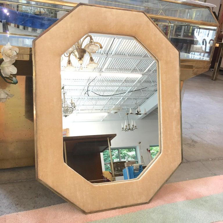 Brass Framed Upholstered Octagonal Mirror by John Widdicomb For Sale 4