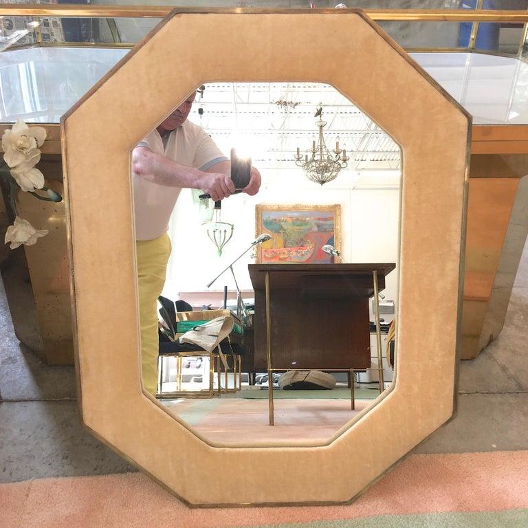 Brass Framed Upholstered Octagonal Mirror by John Widdicomb For Sale 5