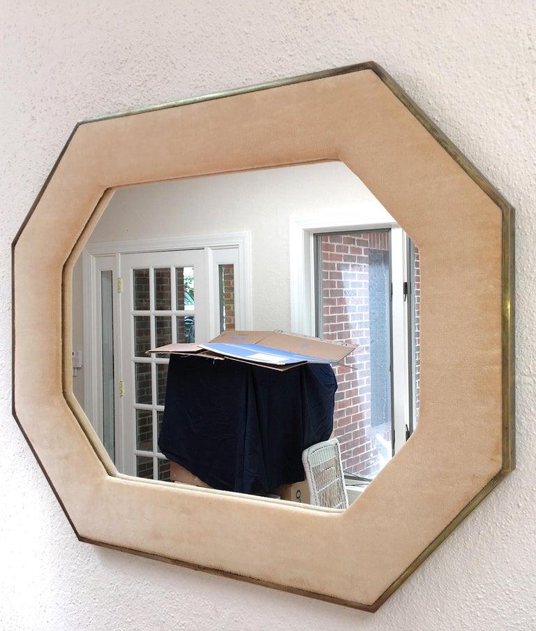 Brass Framed Upholstered Octagonal Mirror by John Widdicomb For Sale 9