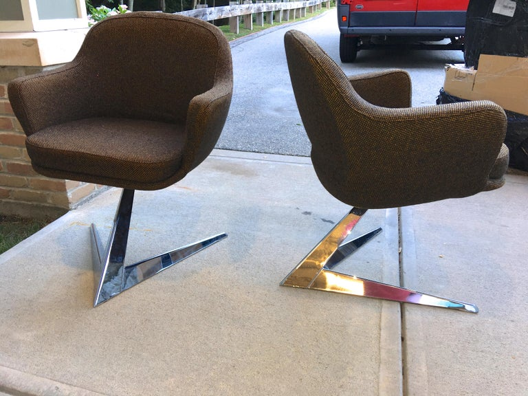 Pair of Fauteuils Attributed to Jacques Adnet for Air France Boardroom For Sale 6